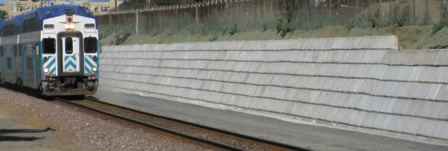 Large Concrete Block Railroad Retaining Wall