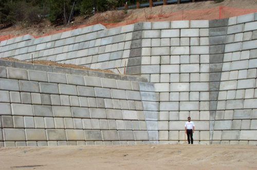 Large Concrete Block Retaining Walls iBRS Inc